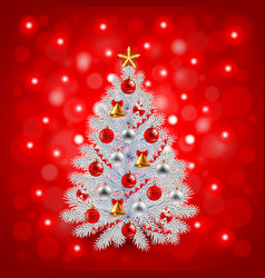 White decorated Christmas tree on red background vector image vector image