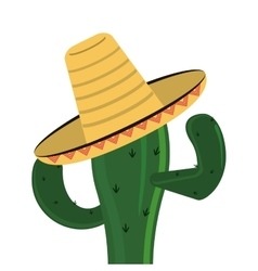 Cactus and sombrero icon vector