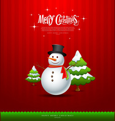 Merry Christmas Snowman and green tree vector image