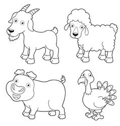 Animal farm outline vector
