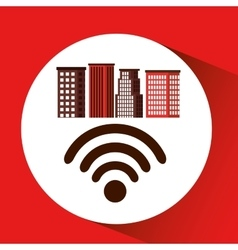 City downtown wifi connection design vector