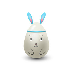Easter egg rabbit painted with spring pattern vector