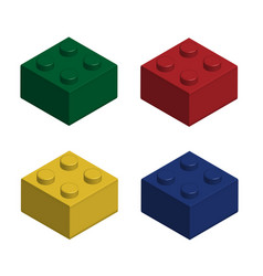 Building bricks in 3d isolated set vector