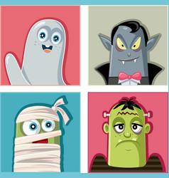 Halloween monsters characters vector