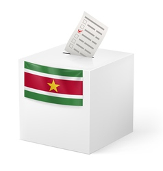 Ballot box with voting paper suriname vector