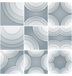 Set of 9 abstract white and grey circle shapes vector