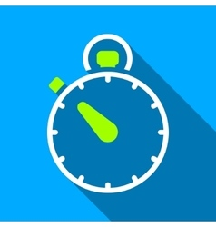 Stopwatch Flat Long Shadow Square Icon vector image