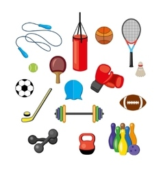 Set of flat sports equipment icons for gym vector