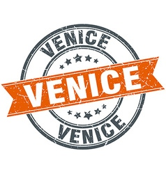 Venice red round grunge vintage ribbon stamp vector