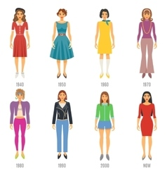 Fashion evolution icons set vector