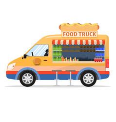 a cartoon food truck vector image vector image