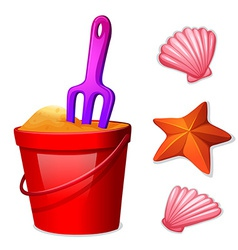 A pail of sand and the seashells vector