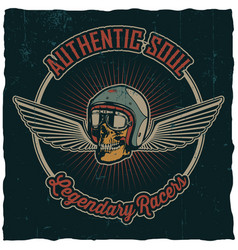 authentic soul legendary racers poster vector image