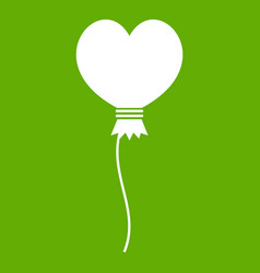 balloon in the shape of heart icon green vector image