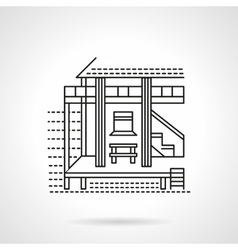 Beach bungalow flat line icon vector image