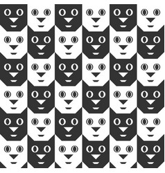 black and white cat faces seamless pattern vector image vector image