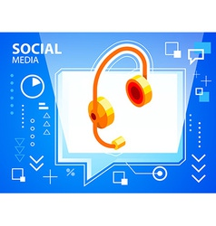 bright speech bubble and head phone on blue vector image