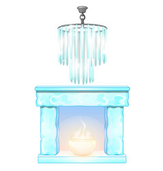 Chandelier and fireplace with flame of ice vector