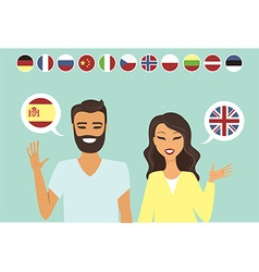 Couple speaking different languges vector