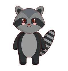 Cute and tender raccoon character vector