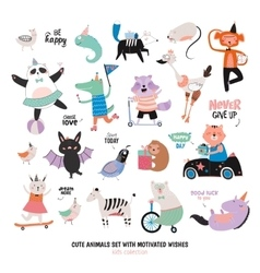 Cute funny animals and motivated wishes set vector