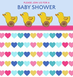 Delicate baby shower card with duck toys vector image