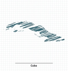 Doodle sketch of Cuba map vector image vector image