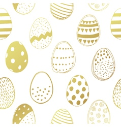 easter eggs gold seamless pattern vector image vector image
