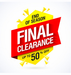 End of season final clearance sale banner vector