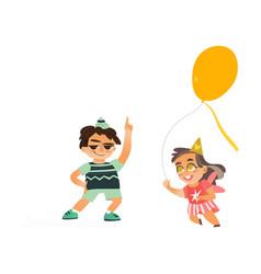 flat boy dancing girl running with balloon vector image