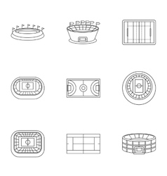 Game at stadium icons set outline style vector