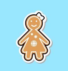 Ginger bread girl icon cute christmas cookie vector
