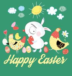 Greeting card with a cheerful Easter bunny vector image