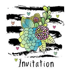 Hand drawn hipster flower invitation card cover vector