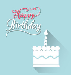 Happy birthday card with white cake first candle vector