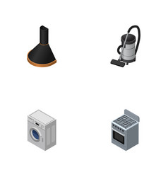 Isometric technology set of stove air extractor vector