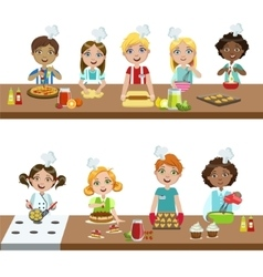 Kids in cooking class vector