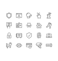 Line Security Icons vector image vector image