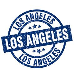 Los angeles blue round grunge stamp vector
