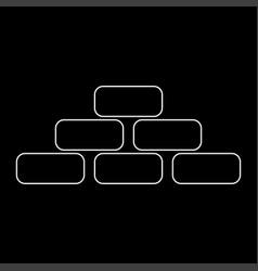 Pyramid white color path icon vector