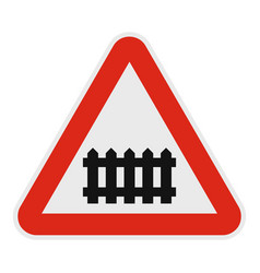 Railroad crossing with a barrier icon flat style vector