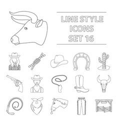 Rodeo set icons in outline style big collection vector