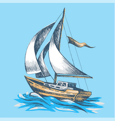 Sailing boat with a flag vector