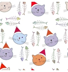 Seamless pattern with santa cat vector image