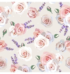 Seamless roses and lavender vector image