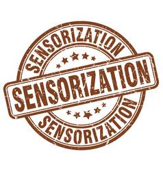 Sensorization brown grunge stamp vector