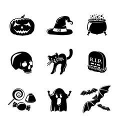 Set of monochrome HALLOWEEN icons -pumpkin witch vector image