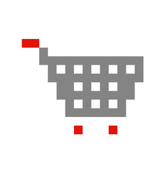 shopping cart pixel art cartoon retro game style vector image vector image