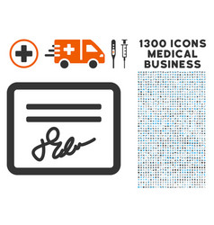 Signed cheque icon with 1300 medical business vector