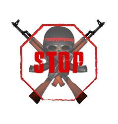 stop terrorism skull mask with kalashnikov assault vector image vector image